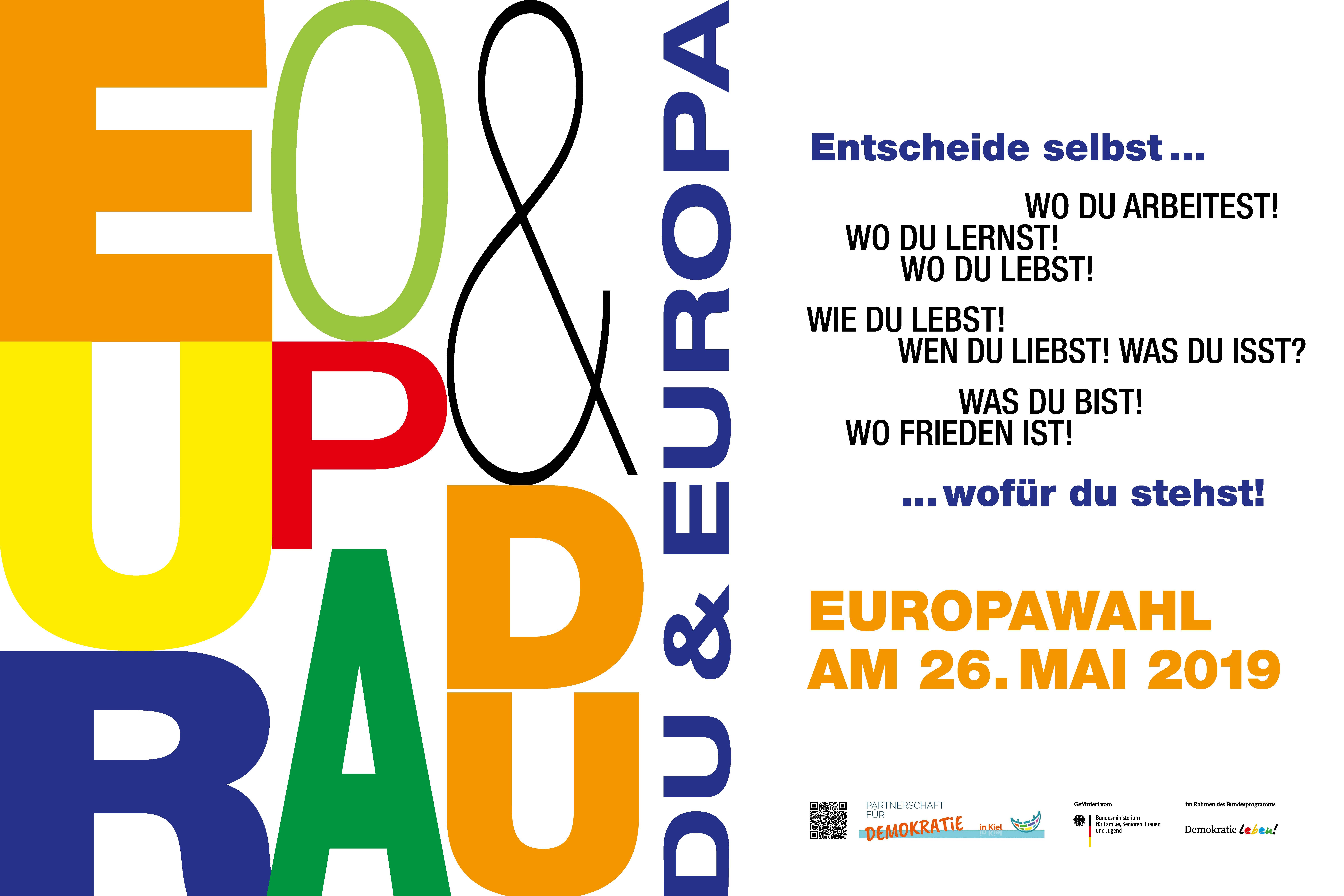 Gemeinsames Banner der Partnerschaften in Schleswig-Holstein zur Europawahl, jörke design